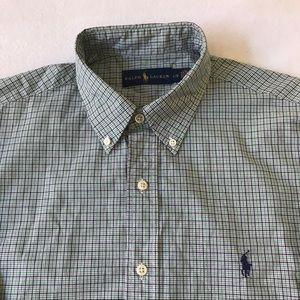 Ralph Lauren 100% Cotton Plaid Button Down Shirt